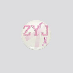 ZYJ initials, Pink Ribbon, Mini Button