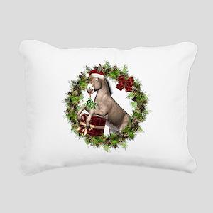 Donkey Santa Hat Wreath Rectangular Canvas Pillow