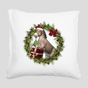 Donkey Santa Hat Wreath Square Canvas Pillow