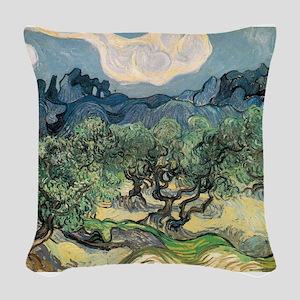 Olive Trees - Van Gogh - c1889 Woven Throw Pillow
