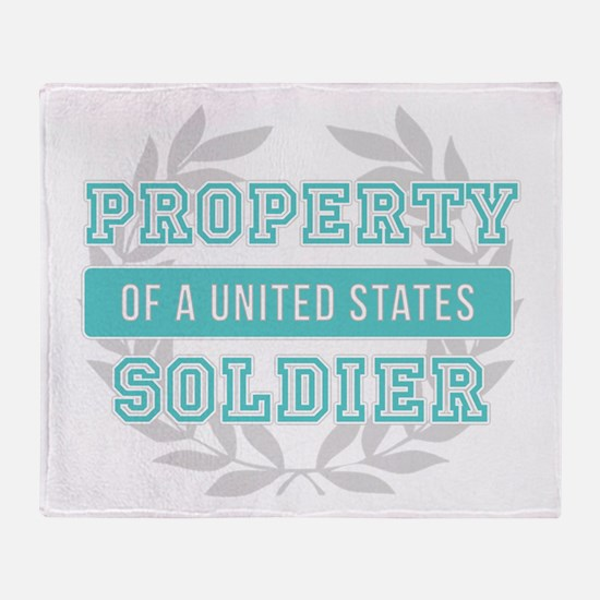 Property of a U.S. Soldier Teal Throw Blanket