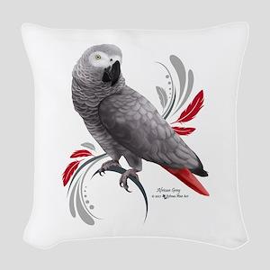 African Grey Parrot Woven Throw Pillow