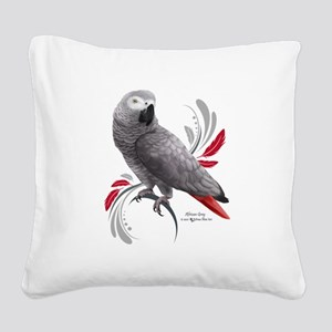 African Grey Parrot Square Canvas Pillow