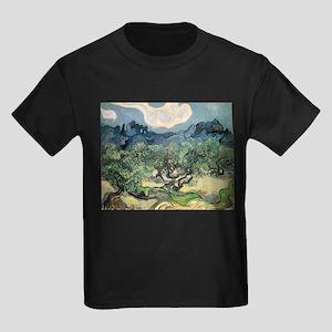 Olive Trees - Van Gogh - c1889 Kids Dark T-Shirt