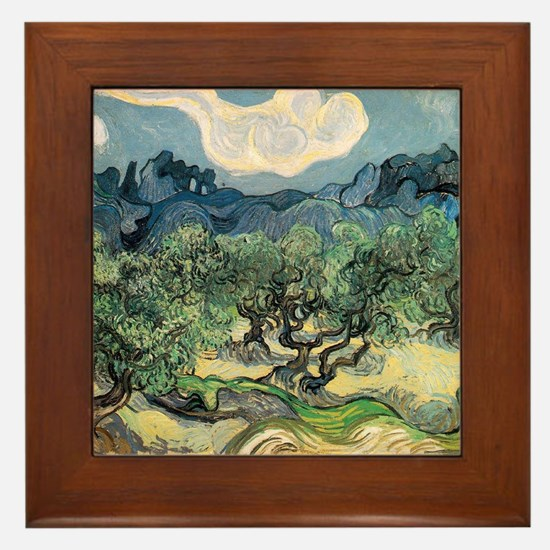 Olive Trees - Van Gogh - c1889 Framed Tile