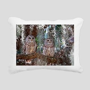 Barred Owls Rectangular Canvas Pillow