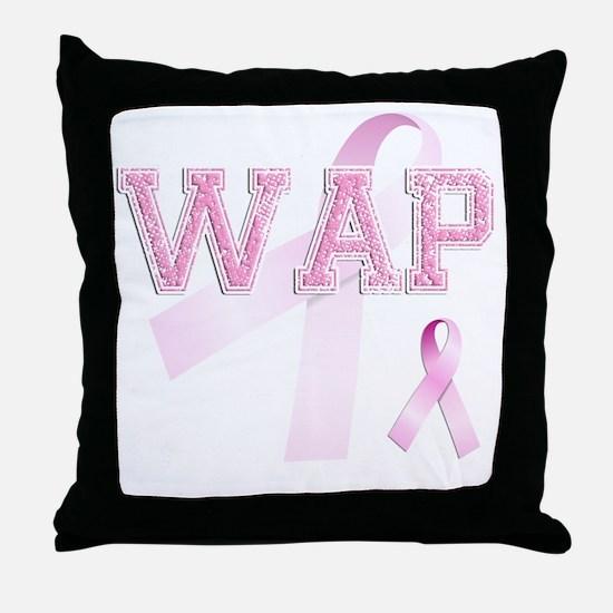 WAP initials, Pink Ribbon, Throw Pillow