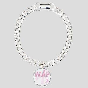 WAP initials, Pink Ribbo Charm Bracelet, One Charm