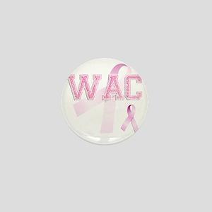 WAC initials, Pink Ribbon, Mini Button