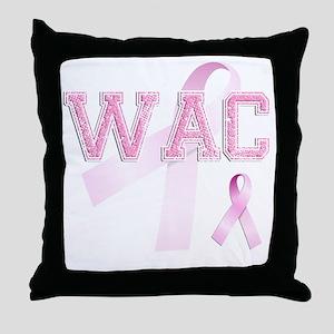 WAC initials, Pink Ribbon, Throw Pillow