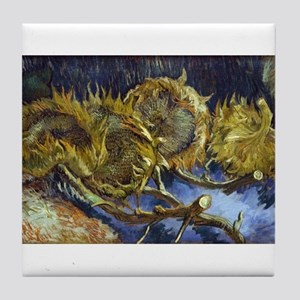 Four Cut Sunflowers - Van Gogh - c1887 Tile Coaste