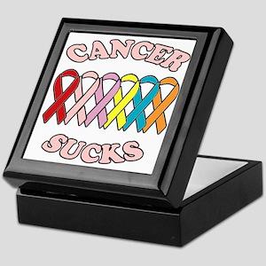 Cancer Sucks Pink Letters Keepsake Box