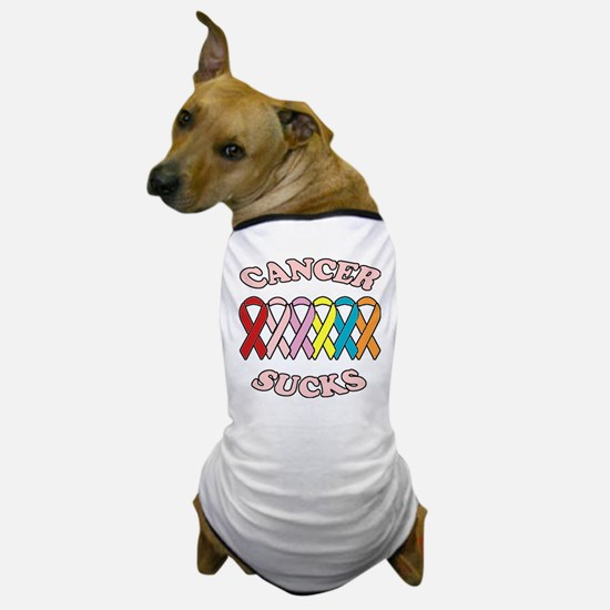 Cancer Sucks Pink Letters Dog T-Shirt