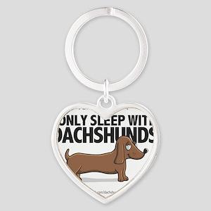 Sleep With Dachshunds Heart Keychain