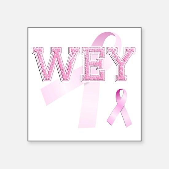 "WEY initials, Pink Ribbon, Square Sticker 3"" x 3"""