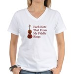 Each Note That From My Fiddle Women's V-Neck T-Shi