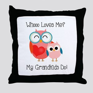 Owl Grandkids Throw Pillow