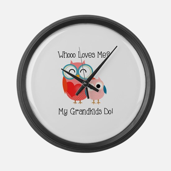 Owl Grandkids Large Wall Clock