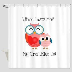 Owl Grandkids Shower Curtain