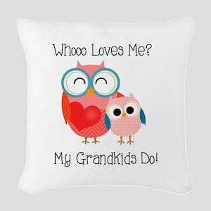 Owl Grandkids Woven Throw Pillow