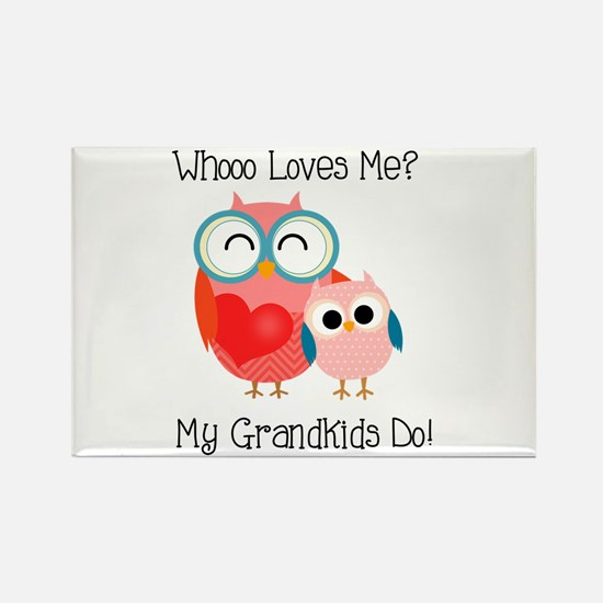 Owl Grandkids Rectangle Magnet