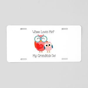 Owl Grandkids Aluminum License Plate