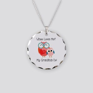 Owl Grandkids Necklace Circle Charm