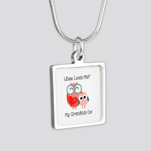 Owl Grandkids Silver Square Necklace