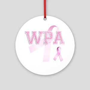 WPA initials, Pink Ribbon, Round Ornament