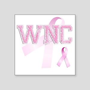 """WNC initials, Pink Ribbon, Square Sticker 3"""" x 3"""""""