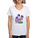 Sanibel Retro Pelicans - Women's V-Neck T-Shirt