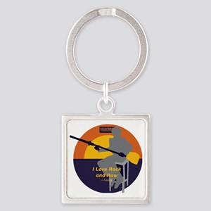 Rock and Row Square Keychain
