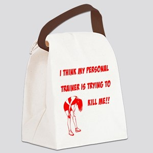 trainer is trying to kill me Canvas Lunch Bag