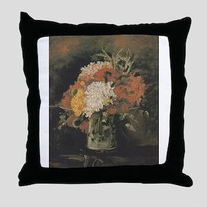 Vase with Carnations - Van Gogh - c1886 Throw Pill