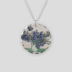 Vase with Irises - Van Gogh - c1890 Necklace Circl
