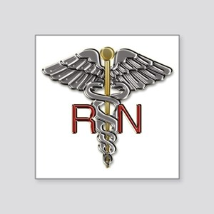 "RN Medical Symbol Square Sticker 3"" x 3"""