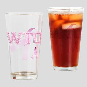 WTO initials, Pink Ribbon, Drinking Glass