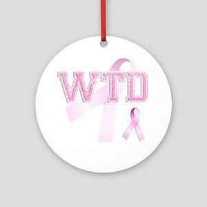 WTD initials, Pink Ribbon, Round Ornament