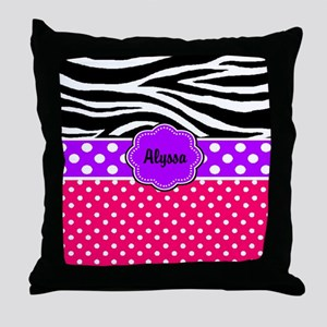 Pink Purple Zebra Personalized Throw Pillow