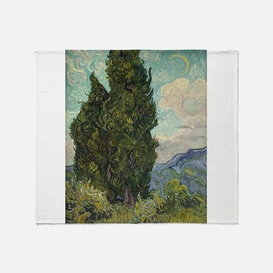 Cypresses - Van Gogh - c1889 Throw Blanket