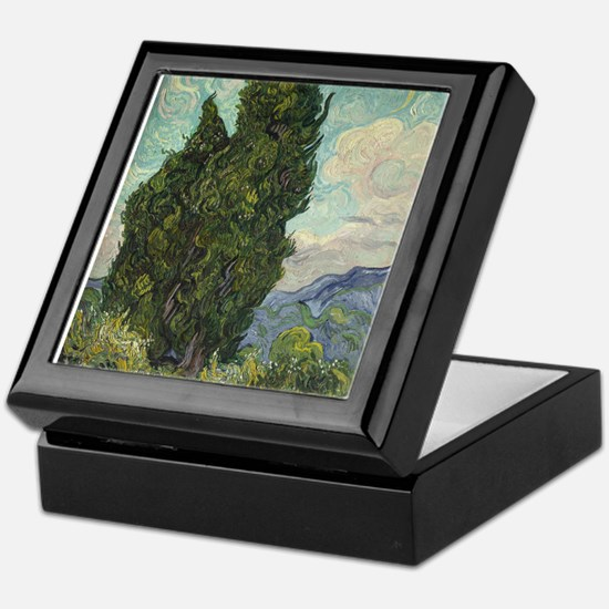 Cypresses - Van Gogh - c1889 Keepsake Box
