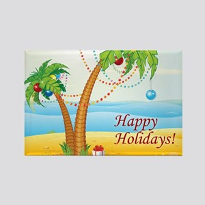 Palm Tree Holiday Rectangle Magnet