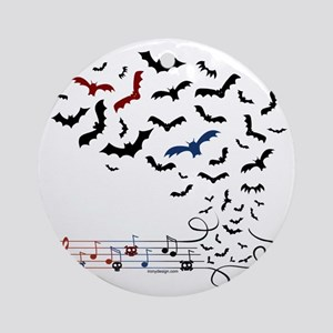Bat Music Design Round Ornament