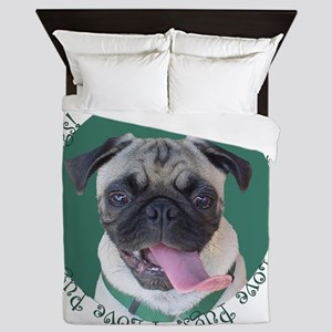 Cute I Love Pugs Queen Duvet