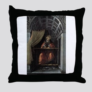 St. Augustine in His Cell - Botticelli Throw Pillo