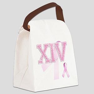 XIV initials, Pink Ribbon, Canvas Lunch Bag