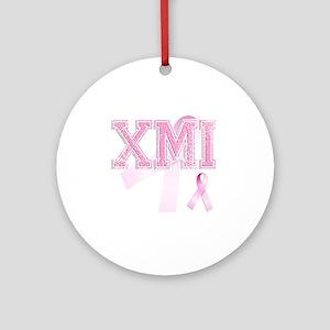 XMI initials, Pink Ribbon, Round Ornament