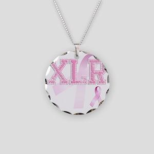 XLR initials, Pink Ribbon, Necklace Circle Charm