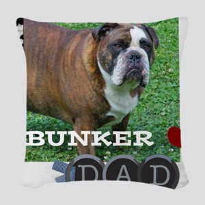 English bulldog and dad Woven Throw Pillow