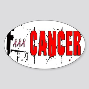 F Cancer in red and black Sticker (Oval)